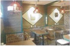 レストランの天井・壁に塗布